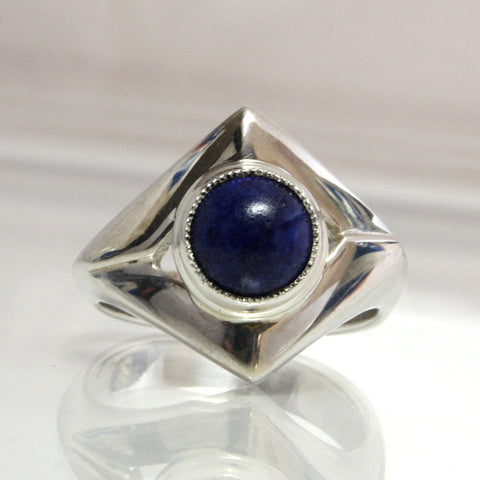 Lapis Lazuli Ring Sterling Silver Size 7 With Blue Gemstone Cabochon - Greg DeMark