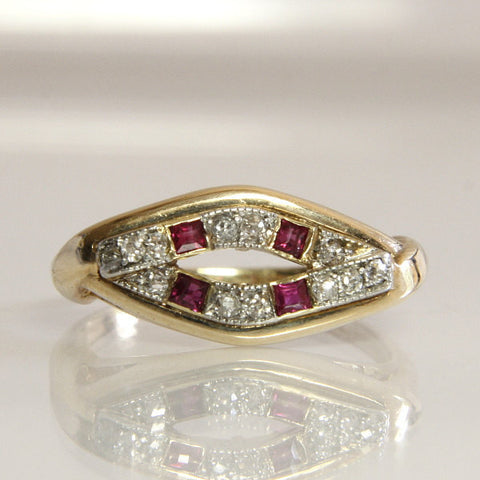 Art Deco 14K Mine Cut Diamond Ruby Wedding Band Size 5 3/4 - Greg DeMark