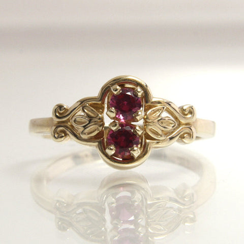 Vintage Engagement Ring Lab Created Ruby 14K Yellow Gold Size 6 - Greg DeMark