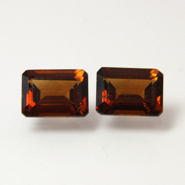 Loose Natural Garnet Emerald Cut Hessonite Matched Pair 3.54 Carats TW - Greg DeMark