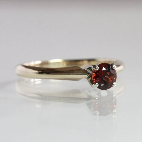 Vintage Garnet Engagement Ring 14K Two Tone Solitaire Size 6.25 - Greg DeMark