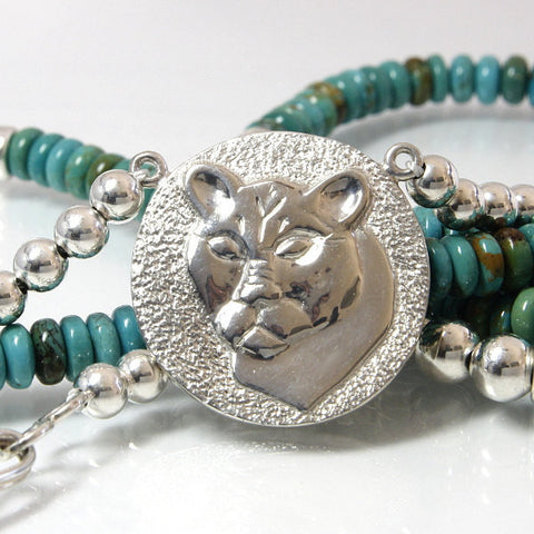 Turquoise Bead Necklace With Sterling Silver Cougar Pendant - Greg DeMark