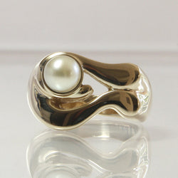 14k Yellow Gold Cultured Pearl Engagement Ring Size 6.5 - Greg DeMark