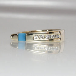 Turquoise and Diamond Ring 14K Yellow Gold Size 6.5 Gemstone Inlay - Greg DeMark