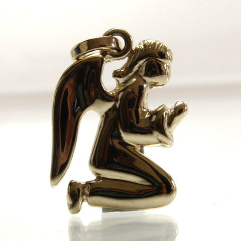 Guardian Angel Pendant 14K Yellow Gold Modern Design Religious Jewelry - Greg DeMark