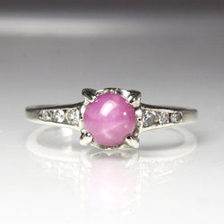 Vintage Engagement Ring 14K Gold Size 4.75 Lab Created Star Sapphire - Greg DeMark