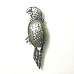 Mexican Silver Parrot Brooch With Jade Cabochon Body Pre Eagle Mark - Greg DeMark