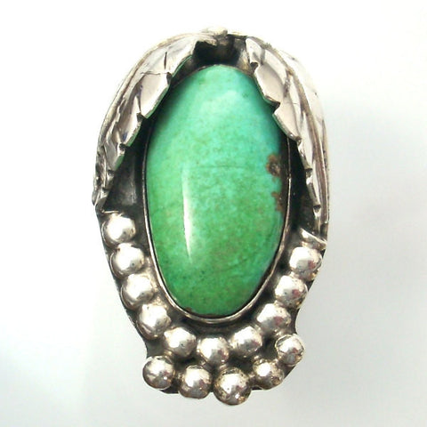Vintage Sterling Navajo Ring Geen Turquoise Size 9 1/2 - Greg DeMark