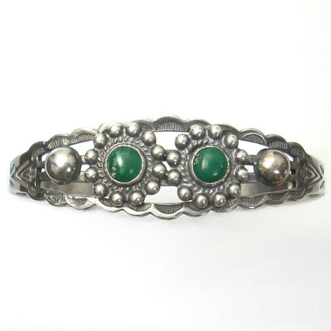 Fred Harvey Era Cuff Bracelet Sterling Silver With Turquoise Cabochons - Greg DeMark