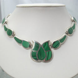 Vintage Mexican Sterling Inlaid Malachite Tulip Necklace 18 Inches - Greg DeMark