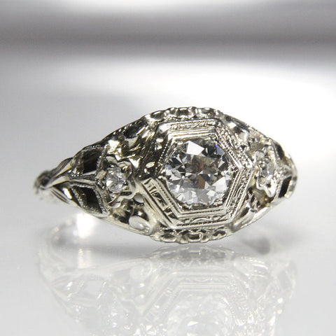 Art Deco Engagement Ring 18K White Gold Filigree Size 5 3/4 - Greg DeMark