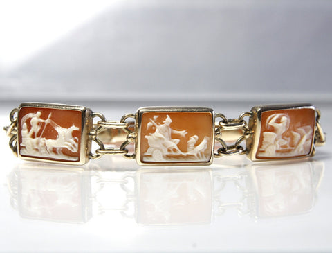 Vintage 14K Days of the Week Carved Roman Mythology Cameo Bracelet - Greg DeMark