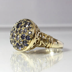 Large Vintage Gemstone Iolite Ring 10K Yellow Gold Filigree Size 7 - Greg DeMark