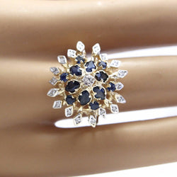 Vintage Sapphire And Diamond Cluster Ring 14K Yellow Gold Size 7 - Greg DeMark