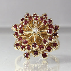 Vintage Ruby Cluster Ring With Diamond Size 6.75 14K Yellow Gold - Greg DeMark