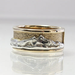 Twin Peaks Mountain Ring 14K Yellow Gold And Sterling Silver Size 7.5 - Greg DeMark
