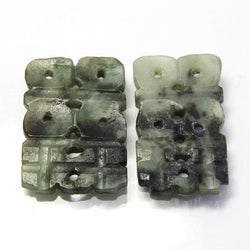 Antique Lot of 2 Carved Jade Loose Tablets Gemstones - Greg DeMark