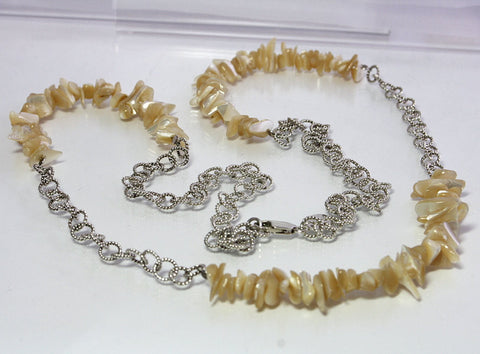Long Vintage Sterling Mother Of Pearl Necklace 39 1/2 Inches - Greg DeMark