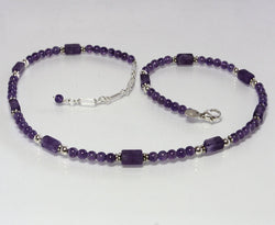 Vintage Amethyst Bead Necklace 18 5/8 Inches Long Adjustable length - Greg DeMark