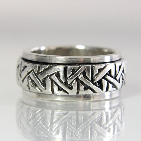 Vintage Sterling Celtic Knot Wedding Band Spinner Ring Size 6 - Greg DeMark