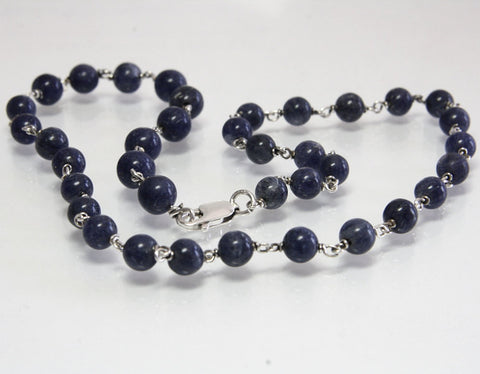 Vintage Sodalite Bead Necklace Sterling Silver 14 Inches - Greg DeMark