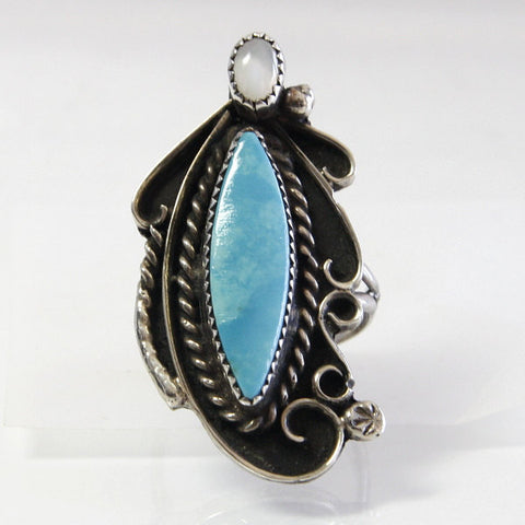 Vintage Native American Silica Turquoise Mother Of Pearl Ring Size 6.5 - Greg DeMark