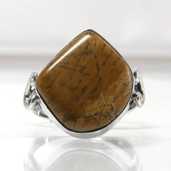 Vintage Jasper Ring Sterling Silver Size 5.75 Tan Color Cabochon - Greg DeMark