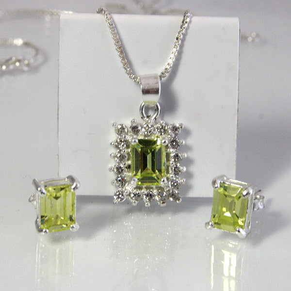 Vintage Sterling Silver Peridot Zirconia Necklace And Earring Set - Greg DeMark