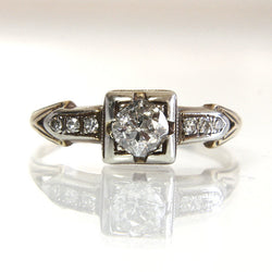 Art Deco 14k European Diamond Engagement Ring Size 6.25 - Greg DeMark