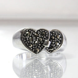 Vintage Double Heart Ring Sterling Silver And Marcasite Size 6 - Greg DeMark