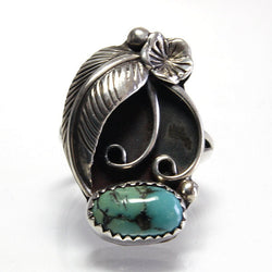 Vintage Sterling Navajo Turquoise Ring Size 7.25 Signed Lee - Greg DeMark