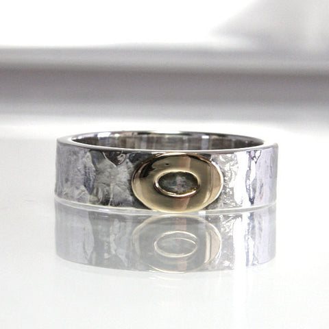 Sterling Silver Hammered Wedding Band With 14K Gold Size 6.5 - Greg DeMark
