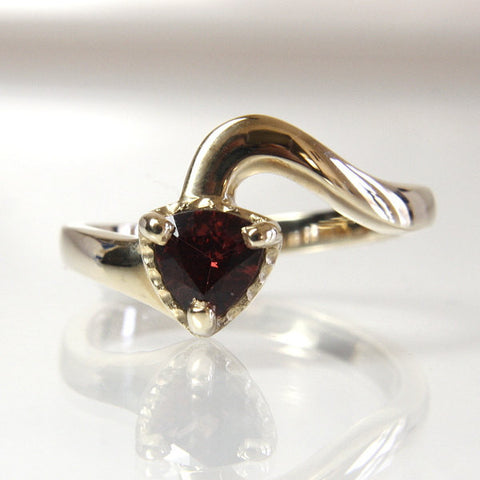 Handmade Trillion Rhodolite Garnet Engagement Ring Size 6.25 - Greg DeMark