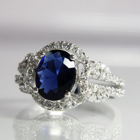 Vintage Sterling Imitation Sapphire Cubic Zirconia Ring Size 6 - Greg DeMark