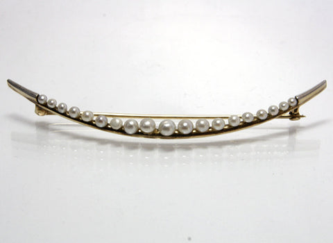 Antique 14K Platinum Seed Pearl Crescent Moon Brooch - Greg DeMark