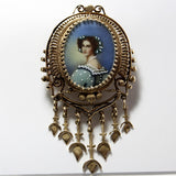 Victorian Revival Pendant Brooch Portrait Miniature 14K Yellow Gold - Greg DeMark