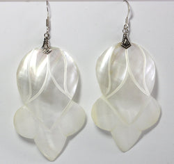 Vintage Sterling Carved Mother of Pearl Dangle Earrings - Greg DeMark