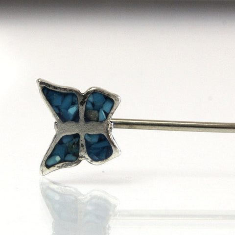 Vintage Southwestern Butterfly Stickpin Sterling Silver With Turquoise - Greg DeMark