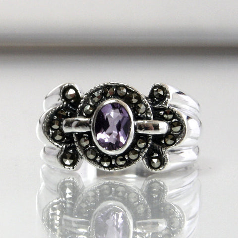 Vintage Amethyst Ring Sterling Silver With Marcasite Size 9.25 - Greg DeMark