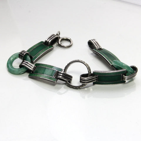 Art Deco Sterling Silver Bracelet With Enamel Links 7.25 Inches Long - Greg DeMark