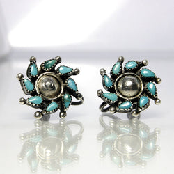 Vintage Zuni Turquoise Earrings Sterling Silver Petit Point Pinwheel - Greg DeMark