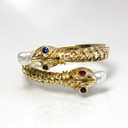 Vintage 18K Yellow Sapphire Ruby Pearl Snake Ring Size 7.5 - Greg DeMark