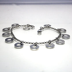 Vintage Sterling Silver Rolo Chain Charm Bracelet 8 Inches Long - Greg DeMark