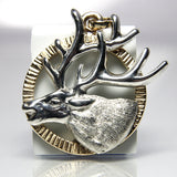 Wildlife Jewelry Elk Pendant 14K Yellow Gold And Sterling Silver - Greg DeMark