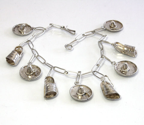Vintage Mexican Sterling Sombrero Sandal Charm Bracelet 6.75 Inches - Greg DeMark
