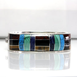 Mexican Silver Bracelet Vintage With Gemstone Inlay Signed Alicia - Greg DeMark