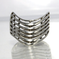 Vintage Sterling Silver Modernist Wave Ring Size 10 - Greg DeMark