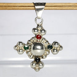 Vintage Mexican Sterling Enamel Cross Pendant - Greg DeMark