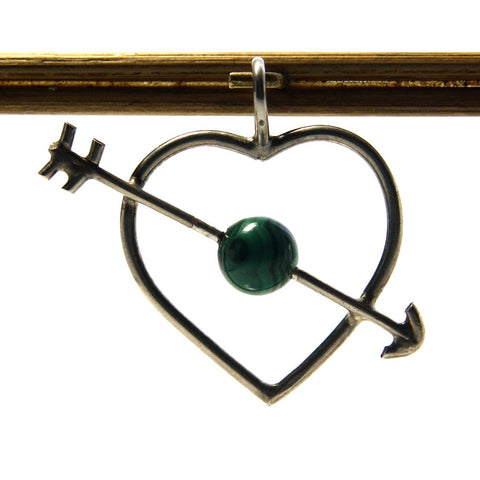 Heart And Arrow Pendant Vintage Sterling Silver With Malachite - Greg DeMark
