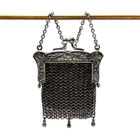 Antique Chatelain Chain Mail Coin Purse with Leather Lining - Greg DeMark